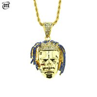 collares de rapero al por mayor-Personalizado Rapper XXXTentacion Collar Colgante Hombres Helados CZ Cadenas Hip Hop / Punk Color Oro Encantos Regalos de Joyería