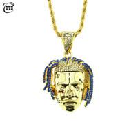 ingrosso pendente di trifoglio d'ottone-Personalizzato Rapper XXXTentacion Ciondolo Collana Uomo Iced Out CZ Catene Hip Hop / Punk Colore oro Charms Gioielli regali