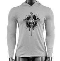 ingrosso grandi abiti da uomo-HOT 2019 Fitness da uomo Pure Cotton Large Size Cross Skull Stampa Trend creativo manica lunga Guardia Abbigliamento GYM