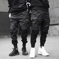 черные брюки для перевозки хип-хопа оптовых-2019 Мужчины ленты Блок Черный Карманный Cargo Pants Harem Joggers Harajuku Sweatpant Hip Hop Tatical Брюки