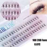 permanent false eyelashes بالجملة-1BOX شبه الدائمة 10D 20D ولم يضف حجم مروحة الكاذبة الرمش الامتدادات المنك قطاع الرموش الفردية جلدة نمط الطبيعية
