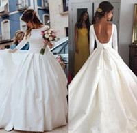 vestido de manga larga desnuda al por mayor-Simple espalda abierta de manga larga vestidos de novia vestido de bola vestido de novia bohemia una línea vestido de novia barato