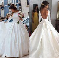vestidos de cetim e pnina venda por atacado-Simples Open Back manga comprida vestidos de casamento vestido de baile Vestido de Noiva Bohemia A Linha de vestido de novia baratos