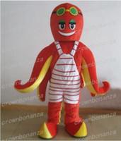 polvo de festa venda por atacado-Lula choco traje da mascote anime tema vermelho polvo carnaval halloween cartoon traje personagem de natal festa de aniversário sui