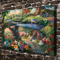 Wholesale cartoon princess paintings for sale - Group buy Thomas Kinkade Princess Elves Fairy Pieces Canvas Prints Wall Art Oil Painting Home Decor Unframed Framed x24 quot