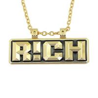 ожерелье china роскошь оптовых-хип-хоп письма богатые кулон ожерелья для мужчин роскошные ожерелье рэппер кубинский звено цепи же ожерелье с рэпом Китая бесплатная доставка