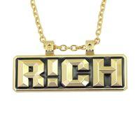 ingrosso lusso della porcellana della collana-hip hop Letters RICH collane ciondolo per collana di lusso uomini rapper catena cubana stessa collana con il rap della Cina spedizione gratuita