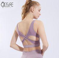 c8a6d0f4e Unique Wrap Front Medium Impact Sports Bra Women Solid Fitness Dance Bras  Breathable Nylon Gym Sport Bra Yoga Tops