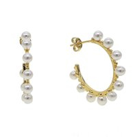 brincos de contas cheias de ouro venda por atacado-2019 gold filled fresh pearl hoop brinco para mulheres presente da jóia da forma das senhoras na moda Fresco Pérola contas círculo hoop brinco