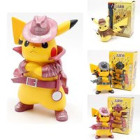 Wholesale toy cute online - 2019 Movie Detective Pikachu PVC cm Figure Go Angry Kawaii Cute Q Statue Doll Model Toys Figura Figurine Kid Gifts for Birthday MMA1889