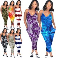Wholesale v neck clubwear romper resale online - S XL Women Spaghetti Strap Romper Pants V Neck Front Packet Wide Legs One Piece Jumpsuit Loose Pants Clubwear Sleeveless Playsuit C5903