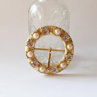 toka kaydırıcıları toptan satış-Temizle Yuvarlak Rhinestone Toka Düğün Davetiyesi Için Diamante Şerit Kaydırıcılar Metal Tokalar Kristal Altın Düğme Yeni Toka
