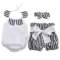 полосатые шорты верхний набор оптовых-2019 New Kids Baby Girl Clothes Cute Cotton Tops Romper + Striped Shorts + Bowknot Headband 3pcs Babies Kids Outfits Set
