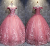 ingrosso 15 abito dolce principessa-2019 Princess Pink Ball Gown Prom Abiti Quinceanera Sweet 15 Formal Party Gown Plus Size Pageant Dress Custom Made BC1718