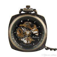 manecillas del reloj analógico al por mayor-Exqusite Vintage cuerda manual reloj de bolsillo unisex cara abierta Steampunk relojes negro analógico elegante reloj de regalo