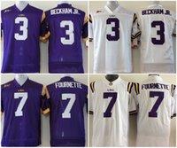фиолетовый молодежный футбол трикотажные изделия оптовых-Молодежные футболки LSU Tigers # 3 Оделл Бекхэм младший 7 Леонард Фурнетт Футбольные майки молодежного колледжа Purple White