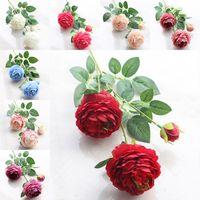 ingrosso rose di fiori di nozze artificiali di seta-Fiori artificiali Rose di seta Capolini Fiori da sposa Decorazione floreale Piante artificiali Regalo di Natale 16 Colori DHL Ship HH9-2116