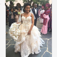 African Designer Wedding Dresses Spaghetti Straps Lace Up Back Appliques Bridal Gowns With Detachable Train Overskirt Vintage robe de mariee