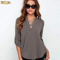 blusas de moda china venda por atacado-Blusa Mulheres Moda Chiffon Blusas 3 4 Roupa V Neck Tamanho Feminina Tops Feminino luva roupas baratas China