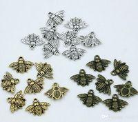 schöne ohrringe großhandel-MIC 150 stücke Antike silber / Gold / Bronze Zink-legierung Schöne Biene Charms Anhänger 16x20mm DIY Schmuck Fit Armbänder Halskette Ohrringe