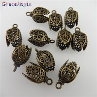 Wholesale copper jewelry findings resale online - GraceAngie Copper Antique Bronze Color Hollow Pattern Pendant Finding MM Handmade Fashion Jewelry Charms