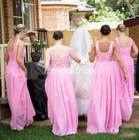 Wholesale 26w light online - Summer Country Pink Bridesmaid Dresses Backless Jewel Floor Length Chiffon Lace Country Beach Garden Wedding Guest Gowns Maid Of Honor Dress