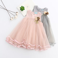 Wholesale ribbons for clothes online - Girls Dress Brand Princess Dress Sleeveless Appliques Floral Design for Girls Clothes Party Dress Y Clothes