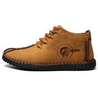 erkekler yumuşak ayakkabılar toptan satış-Erkekler kış çizmeler Deri Yüksek Üstleri kar botları adam Flats Yumuşak Moccasins Loafer'lar askeri botlar zapatos Sürüş Ayakkabı