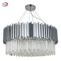 araña de cristal de plata moderna al por mayor-Youlaike Luxury Modern Chandelier Lighting For Dining Round Plata LED Lustres De Cristal Lámparas de cristal para sala de estar