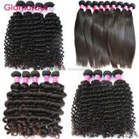 natural hair bundle toptan satış-Glamorous Perulu İnsan Saç 4 Paketler Brezilyalı Bakire Saç Uzantıları Malezya Hint Kıvırcık Düz Derin Dalga Doğal Dalga Saç örgüleri