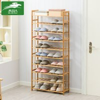 Wholesale large tiers resale online - Space Saving Bamboo Shoe Stand Large Storage Shoe Rack Organizer for Family Home Tiers Multiple Use Adjustable