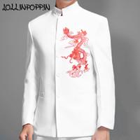 casaco casamento chinês homens venda por atacado-Terno chinês tradicional Mens Dragão bordado branco Jaqueta Mandarim Jacket casamento Collar Para paletós Homens Oriental Tang