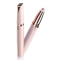 elektrische mini-leuchten großhandel-Mini elektrische Augenbraue-Trimmer-Lippenstift-Brauen-Stift-Haar-Entferner schmerzlos Augenbraue-Rasiermesser-Epilierer mit LED-Licht OPP-Paket