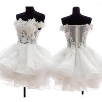 2019 Mini Sexy White Short Cocktail Dresses Strapless Organza 3D Floral Applique Illusion Back Puffy Homecoming Dresses Party Gowns