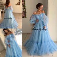 Wholesale belle wedding dresses for sale - Group buy Blue Wedding Dresses Beach A line Beach Country Wedding Dress Bridal Gowns Off Shoulder Long Belle Sleeve Boho robes de soirée