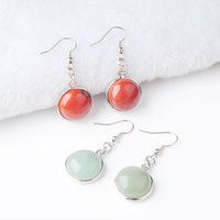 Wholesale white agate jewellery for sale - Group buy WOJIAER Pair New Women Earring Natural Tiger s Eye Agate Crystal Round Gem Stone Drop Earrings Beads Healing Jewellery DBR804