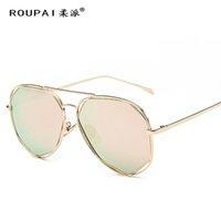 Wholesale stylish cool sunglasses resale online - Women Men Polarized Sunglasses Retro Irregular Frame Stylish Cool New Gold Pink Black Silver Blue Gray Sunglass UV400