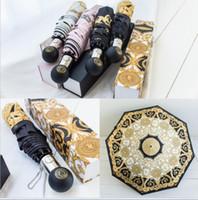 guarda chuva automático venda por atacado-Guarda-chuvas de luxo Semi Automático Folding Umbrella Caixa de Presente Embalagem Senhoras À Prova de Vento Ao Ar Livre Ultravioleta Chuva À Prova de Chuva Umbrella 4 Cores