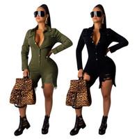 pantalon vert femme achat en gros de-Baissez Collier femme manches longues courte Jumpsuit vente chaude occasionnels Combinaions solides Trou Mode Armée verte générale