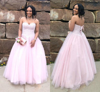 ingrosso bella ragazza sexy del vestito-Bellissime Perle Dolce 16 Rosa Quinceanera Abiti Perline Paillettes Sweetheart Tulle Perle Senza maniche Prom Party Girl Dress Lungo abiti formali