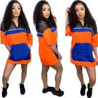 camisa de vestido laranja para as mulheres venda por atacado-Neon greem orange sexy bandage dress mulheres malha patchwork oco t camisa dress streetwear gola meia manga party dress nb-1327