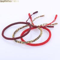 pulseira de corda vermelha sorte venda por atacado-Handmade Corda Vermelha tibetano budista tibetano Pulseiras Amor encanto afortunado Knots Woven Pulseiras Bangles para mulheres dos homens Jóias Acessórios