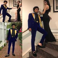 damat altın takımı toptan satış-Yeni Yakışıklı Altın Yaka Düğün Smokin Moda Parti Balo Takım Elbise Düğün Damat Takımları Custom Made (Ceket Sadece)