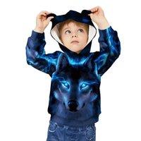 ingrosso orecchie di felpa degli animali-Animal Blue Wolf 3D Print bambini Felpe con orecchio cappello unisex Stampato incappucciate cappotti capretti supera Ragazze Ragazzi Felpe autunno allentati Giacche