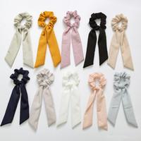 halat yay toptan satış-2019 Vintage Katı Renk Saç Scrunchies Yay Kadın Aksesuarları Saç Bantları Kravatlar Scrunchie At Kuyruğu Tutucu Kauçuk Halat Dekorasyon Büyük Uzun yay