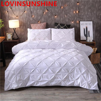 US Luxury Black Duvet Cover Pinch Pleat Brief Bedding Set Queen King Size 3pcs Bed Linen Comforter Cover Sets with Pillowcase Bed Sets