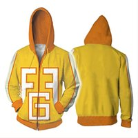 frauen helden cosplay großhandel-Mein Held Academia Hoodie Cosplay Gelb 3D Print Reißverschluss Fatgum Hoody Hoodies Männer Frauen Sweatshirts
