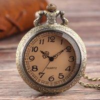 прозрачные кварцевые мужчины оптовых-Античные Карманные Часы Мужчины Tawny Glass Full Hunter Прозрачный Кулон Цепи Кварцевые Часы Мини Дети Женщины Часы Подарок