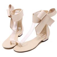 sandalias lindos tacones al por mayor-Moda 2019 zapatos casuales mujer verano cómodo Bowknot lindo gladiador sandalias mujeres zapatos de tacón bajo partido Sexy sandalia plana # ss