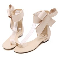 sandalias bajas sexy al por mayor-Moda 2019 zapatos casuales mujer verano cómodo Bowknot lindo gladiador sandalias mujeres zapatos de tacón bajo partido Sexy sandalia plana # ss